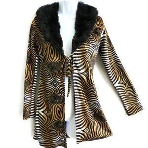 Vintage Crew USA Jacket Psychedelic Zebra Fur S